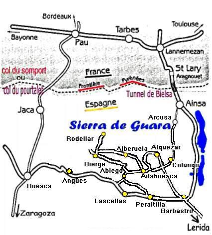carte espagne sierra de guara